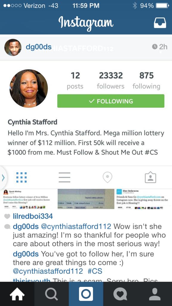 Cynthia Stafford Social Media Scam