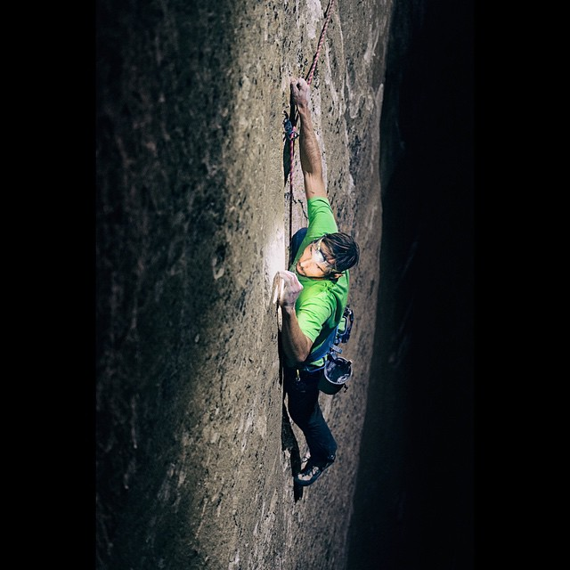 Kevin Jorgeson on Pitch 15 of the Dawn Wall— El Capitan