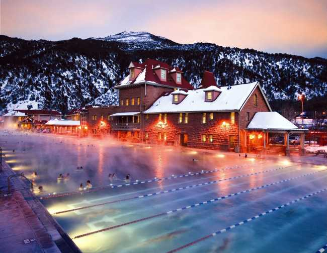 steamy hot springs winter night Glenwood Springs Colorado