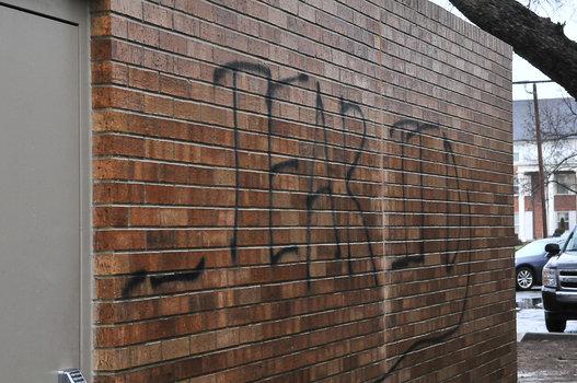 Graffiti on the Sigma Alpha Epsilon house at University of Oklahoma