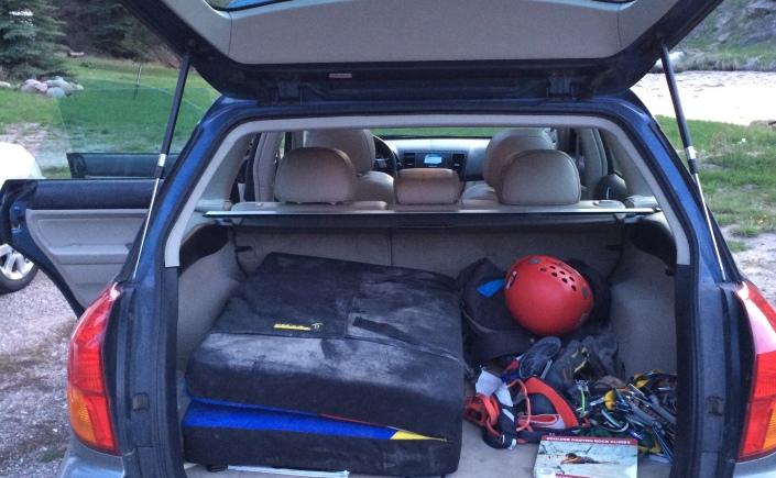 Climbing gear in a car