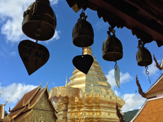 Bells and pagoda at Wat Doi Suthep in Chiang Mai, Northern Thailand