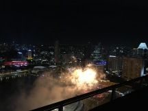Fireworks seen from the marina bay sands rooftop pool