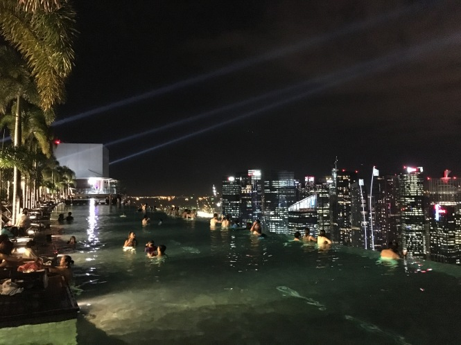 Marina Bay Sands Rooftop Pool night