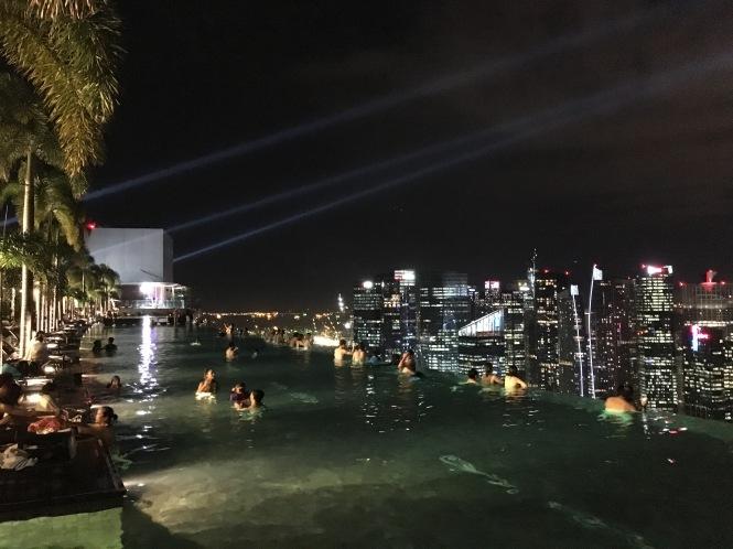 Marina Bay Sands Rooftop Pool night