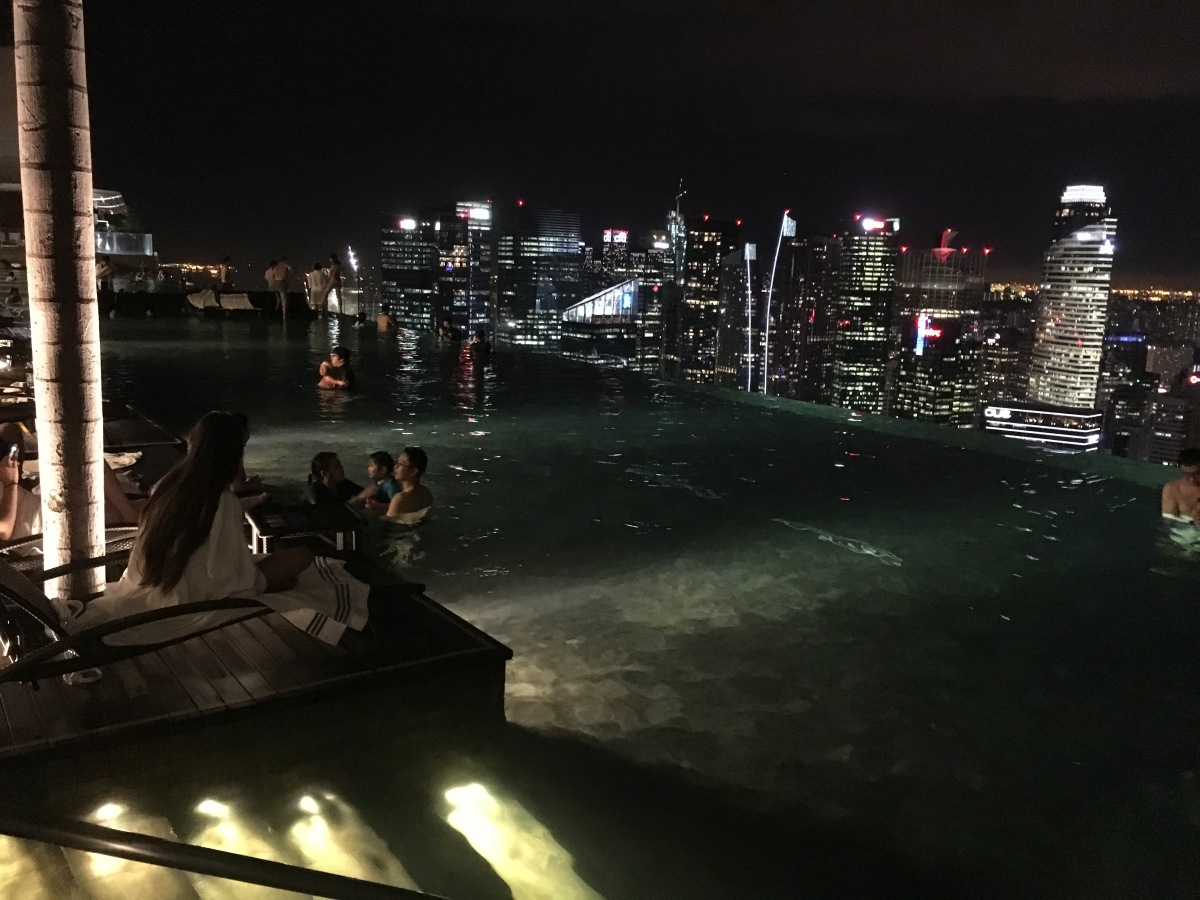 Singapore Skyline seen from rooftop pool