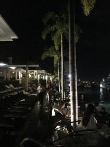 Loungers and palm trees at the Marina Bay Sands skypark
