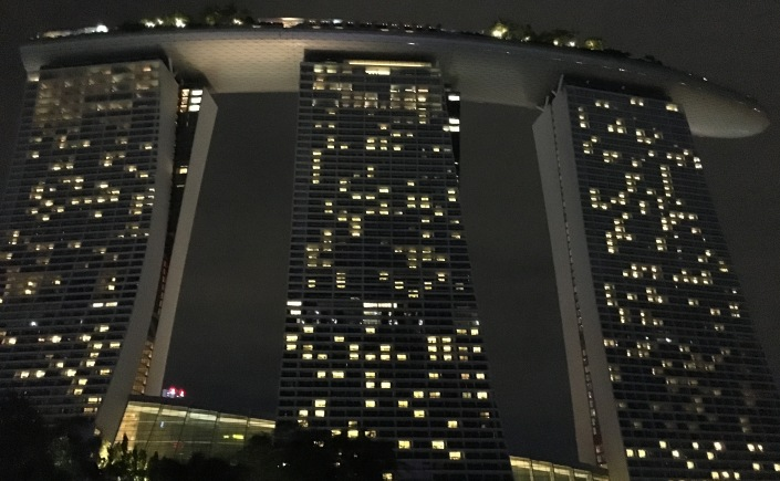 Marina Bay Sands hotel at night