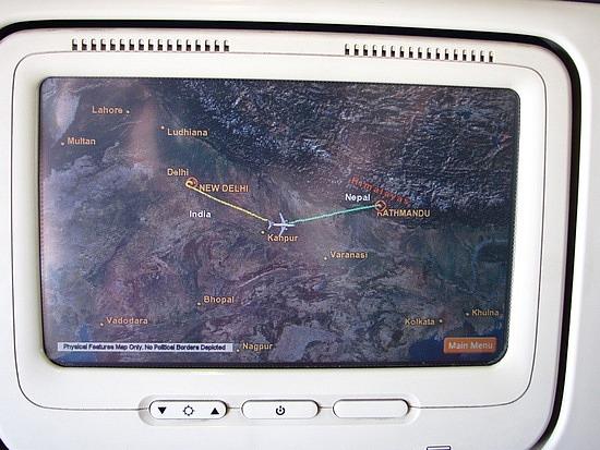 In flight map Delhi Kathmandu India Nepal