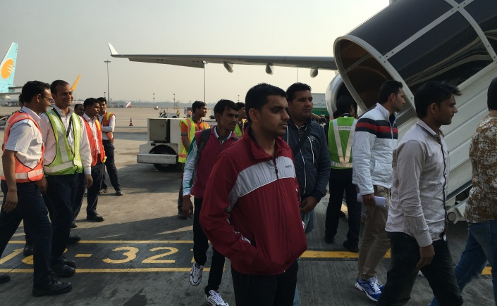 Disembarking at Delhi Airport