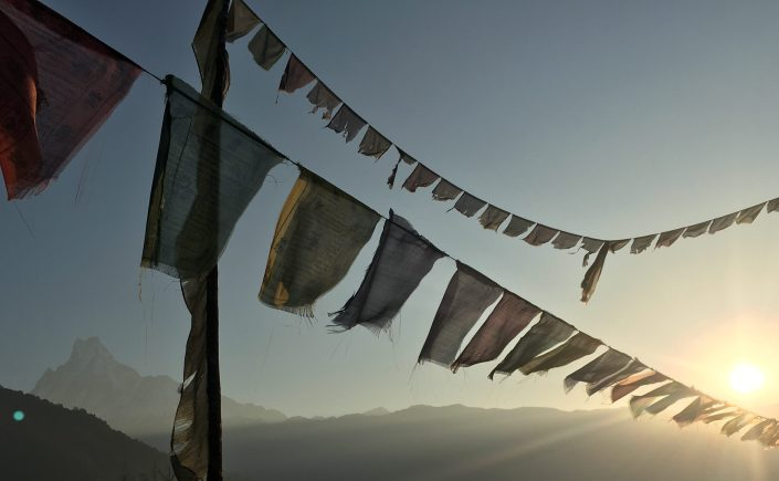 Prayer Flags in Front of Himalayas