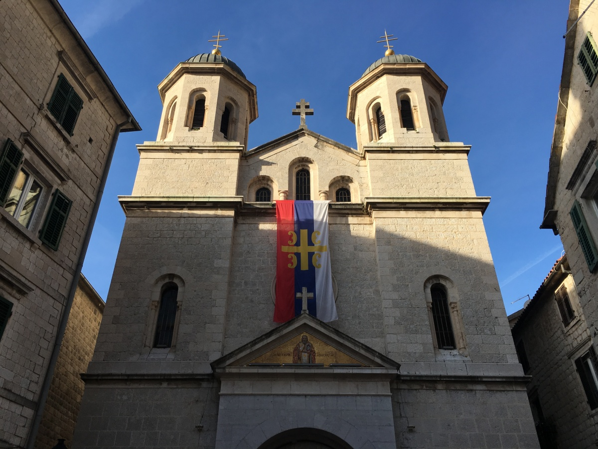 Flag of the Serbian Orthodox Church hanging in Kotor, Montenegro