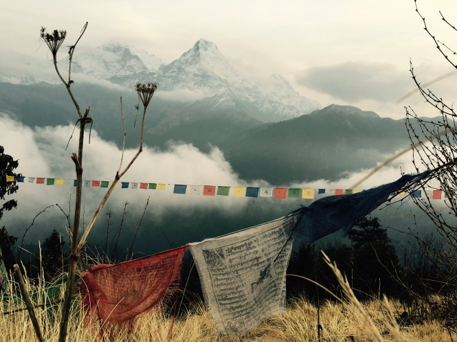 Prayer flags in front of Annapurna Mountains
