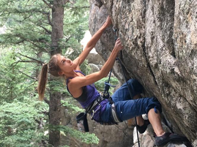 Rip Cord (5.12a), Boulder Canyon, Colorado. Climber: Liz Haas