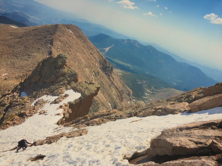 Climbing snow on Long's Peak Cables Route in early July