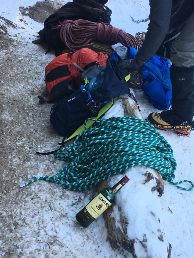 Drinking while ice climbing helps keep the terror at bay