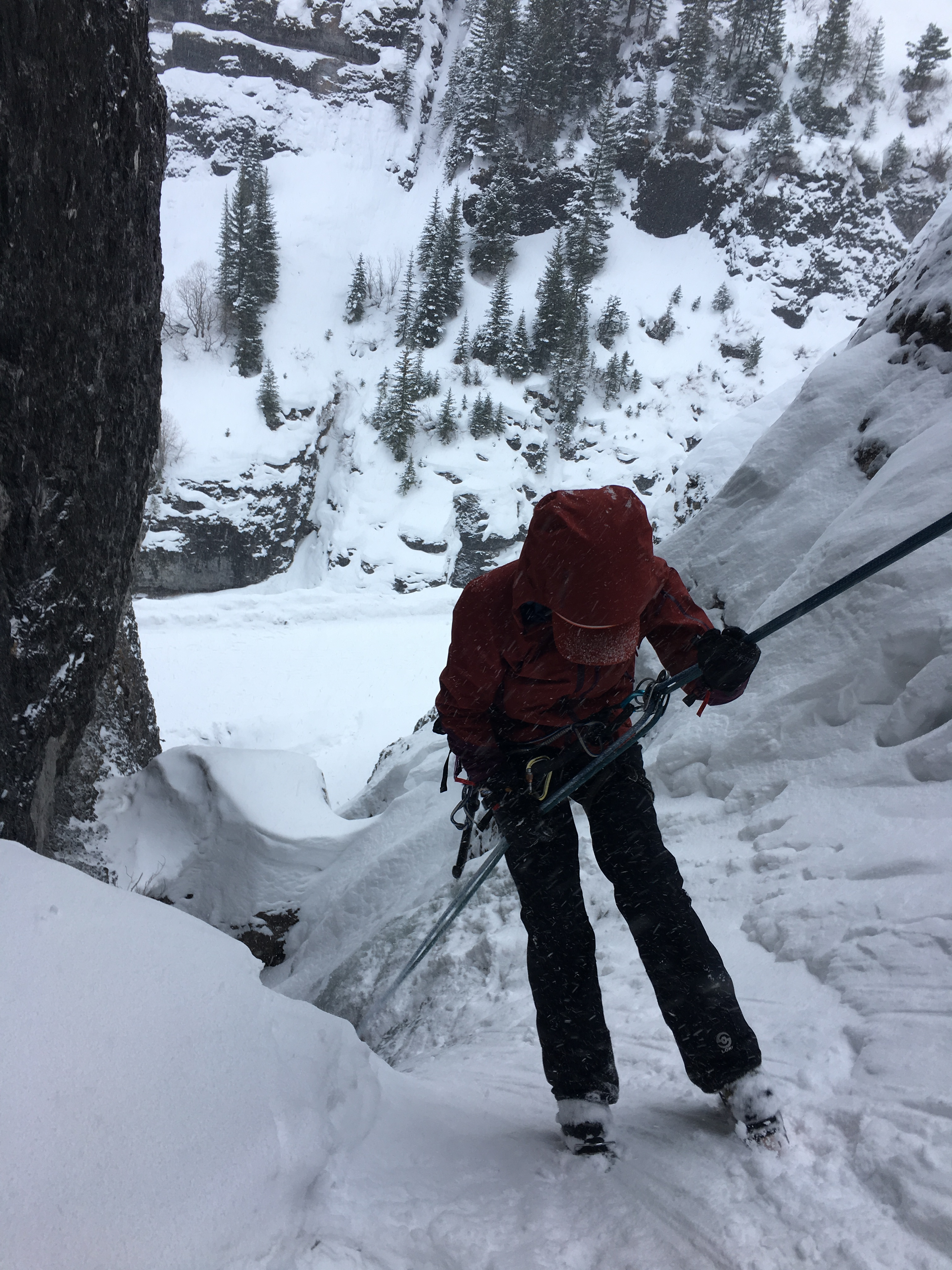 Rappelling ice climbing