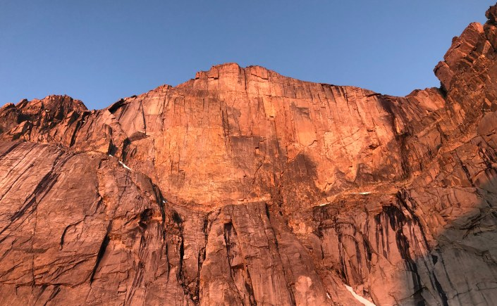 Alpenglow on the Diamond face, Longs Peak